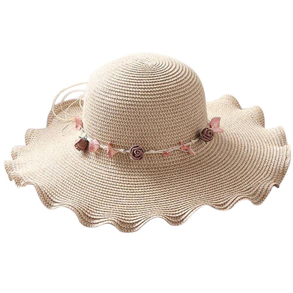 Leisial Signora di Estate Cappello da Sole Donna Carino Colorata Fiori Cappello da Spiaggia Pieghevole Tesa Larga Traspirante Cappello di Paglia 13F49Q4Z20K15C9