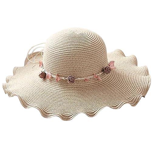 Leisial Mujer Sombrero Gorro de Paja Playa Panama Deporte al Aire Libre Gorro del Sol Sombrero Ala A...