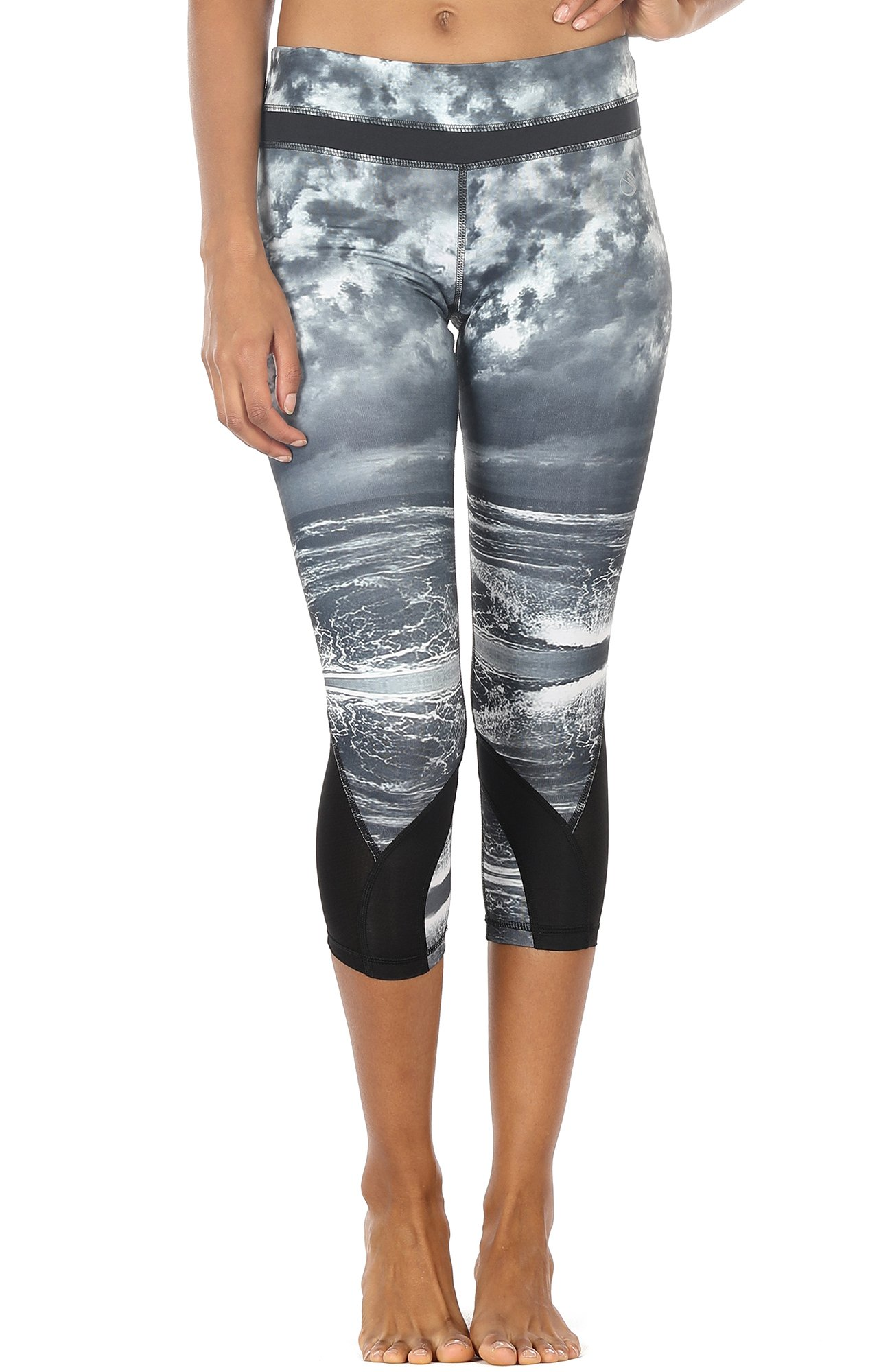 icyzone Women\'s Activewear Workout Capri Stretch Printed Sports Running Yoga Tights Legging with Mesh (L, Clouds Sea)