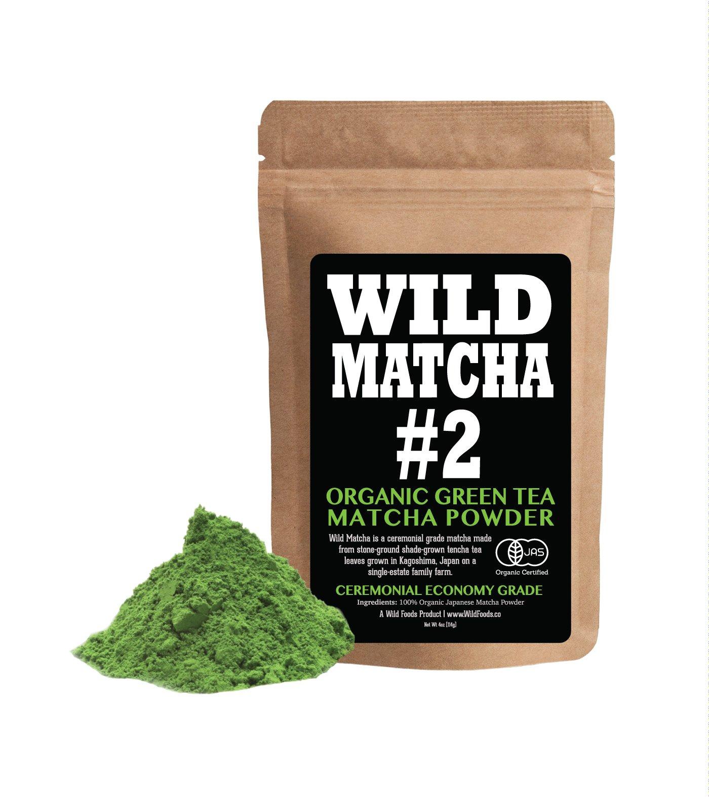 Organic Matcha Green Tea Powder, Wild Matcha #2 Ceremonial Grade, Authentic Japanese Matcha Grown In The Mountains of Kyoto, Japan, JAS Certified Organic (4 ounce)