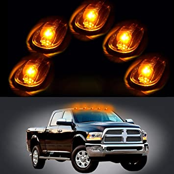 cciyu 5 Pack Clear Cab Roof Marker Clearance Light Lamp Clear Covers Replacement fit for 1999-2002 Dodge Ram 2500 3500 4500
