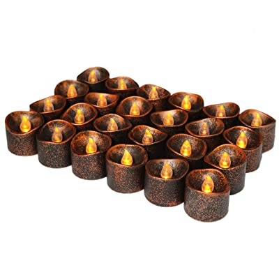Homemory 24-Pack Tea Lights with Timer, Lasting Over 250 Hours, Black Shell Battery Operated Tealight Candles for Home Decor: Home Improvement