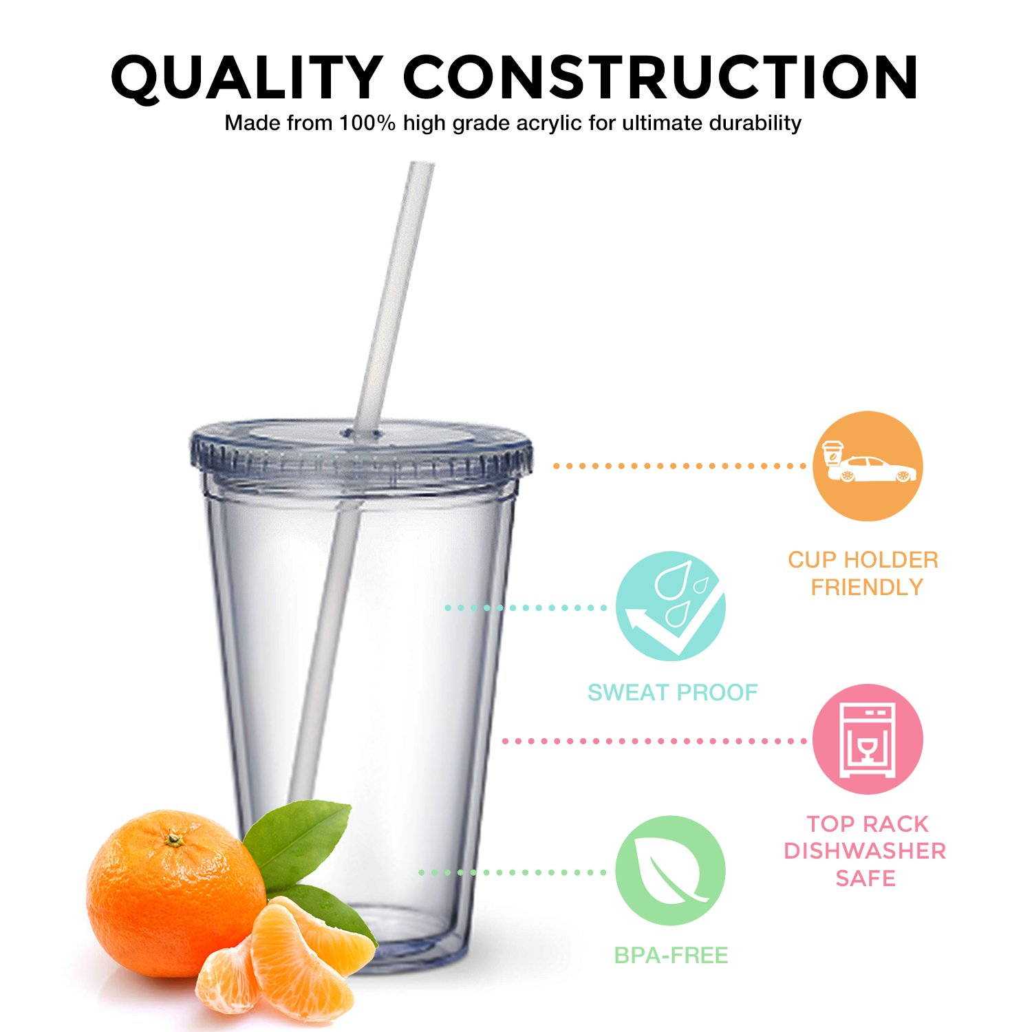 Maars Classic Insulated Tumblers 16 oz. | Double Wall Acrylic | 4 pack by Maars® Drinkware (Image #4)