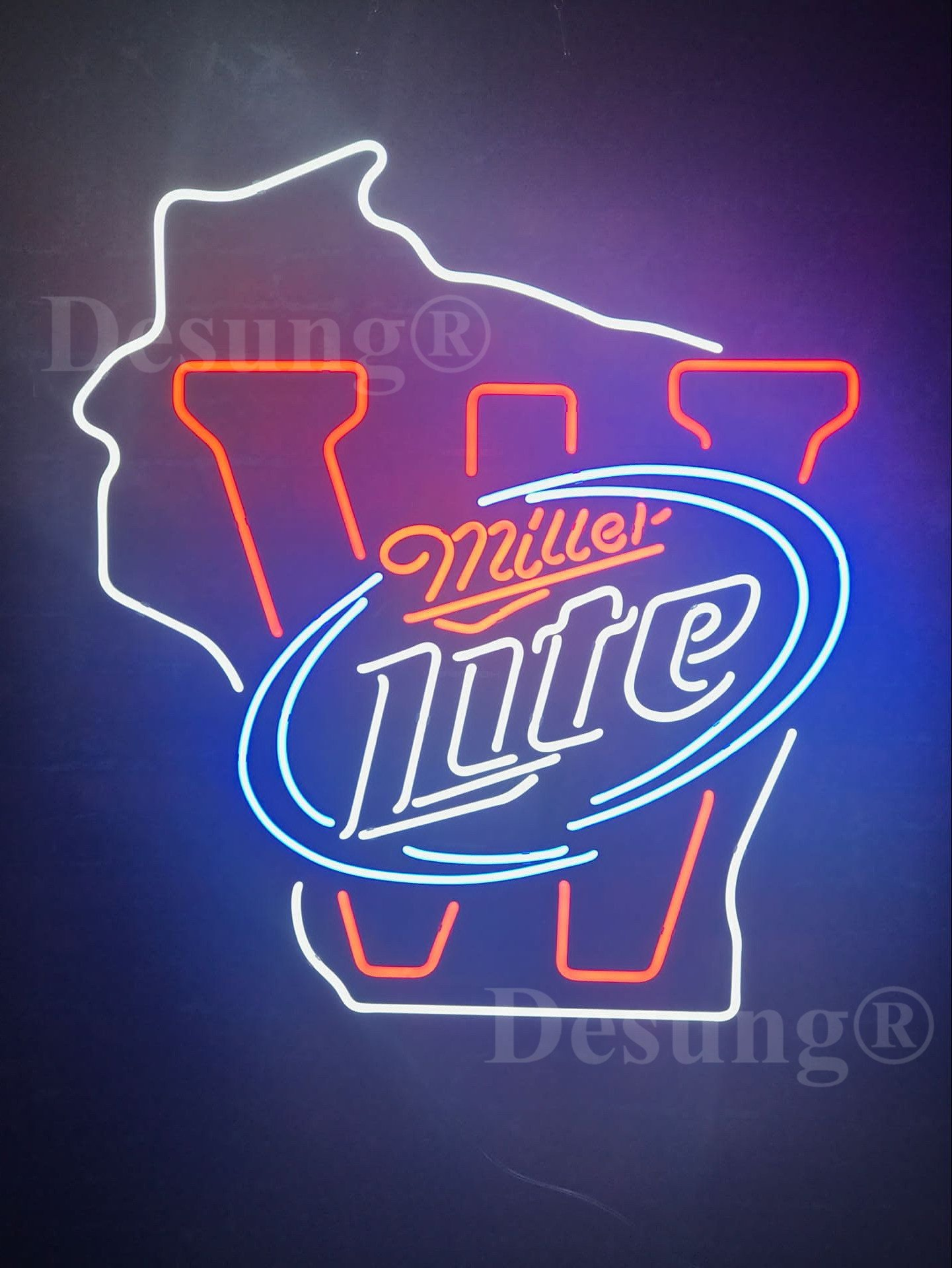 Desung New 24''x20'' Sports WB Team M-Lite Beer Neon Sign Man Cave Signs Sports Bar Pub Beer Neon Lights Lamp Glass Neon Light DX67