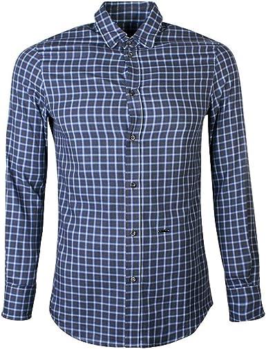DSQUARED2 Camisa de Franela de algodón Azul comprobado Blue Small ...