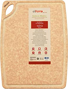 Elihome Kitchen Cutting Boards, Natural Wood Fiber Composite, Dishwasher Safe, Eco-Friendly, Juice Grooves with Easy Grip Handles , Non-Porous, Made in USA, Medium (10