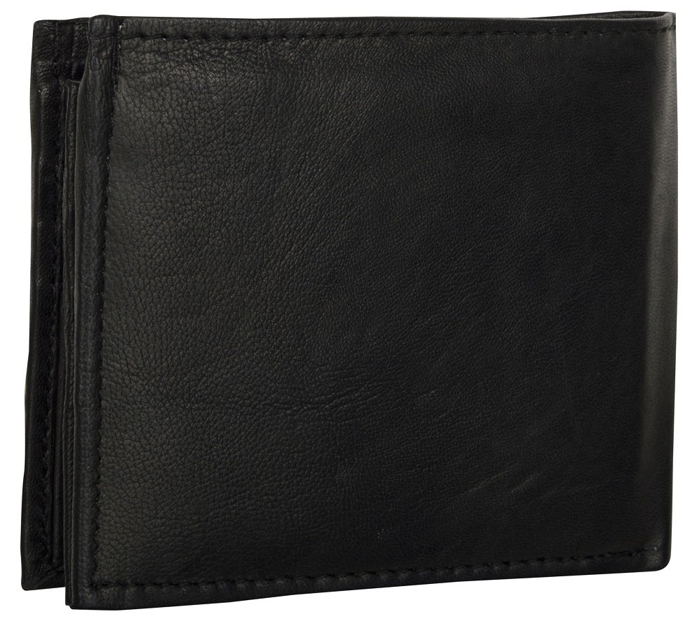 LEATHER OF INDIA Men's Leather Wallet Bi Fold - Soft Sheep Nappa With Side Flap 11.5 X 9 X 1 Cm Black by LEATHER OF INDIA (Image #2)