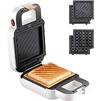 VCJ Mini Sandwich Maker, Portable 2 in 1 Waffle Maker Panini Press Grill (White)