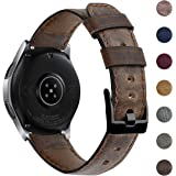 EZCO Leather Bands Compatible with Samsung Galaxy Watch 46mm / Galaxy Watch 3 45mm / Gear S3, 22mm Vintage Genuine Leather Ba