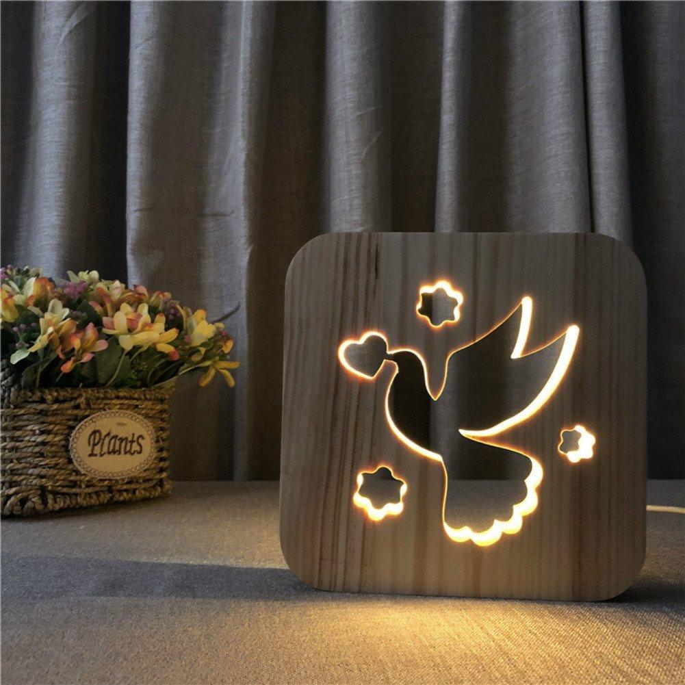 Peace Dove 3dランプ漫画木製Nightlight、LEDテーブルデスクランプUSB電源ホームベッドルームの装飾ランプ、3d Wood CarvingパターンLEDナイトライトウォームホワイト B07DB7ND3N