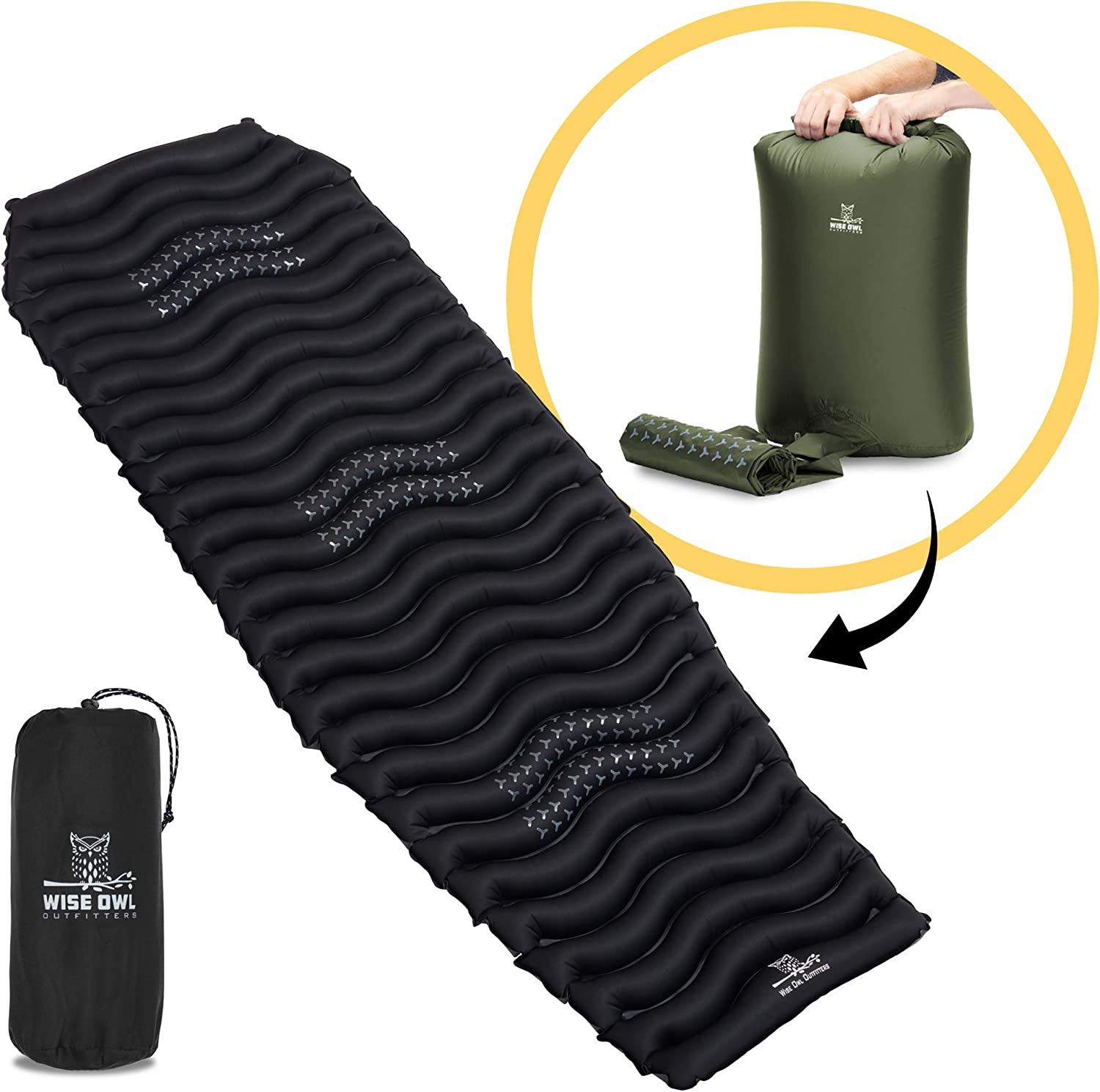 Wise Owl Outfitters Camping Pad – Premium Inflatable Camping Sleeping Mattress for Outdoor and Backpacking – Ultralight Compressible Mat – Bubble and Wave Design with Air Inflator Bag Pump Included