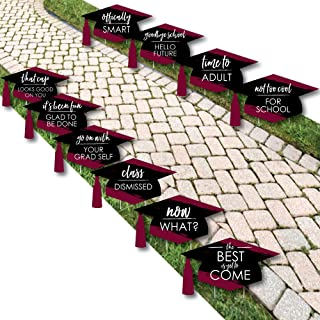 product image for Maroon Grad - Best is Yet to Come - Grad Cap Lawn Decorations - Outdoor Burgundy Graduation Party Yard Decorations - 10 Piece