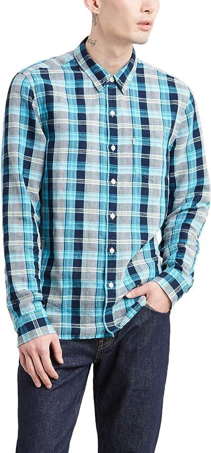 Camisa Levis Sunset MaxiCheck Azul Hombre S Azul: Amazon.es: Ropa y accesorios