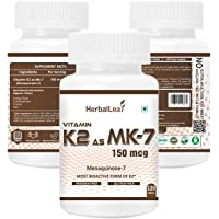 HerbalLeaf Vitamin K2 as MK7 150mcg Supplement | Light & Mineral Stable, High Potency Vitamin K2 as MK7 Supports Healthy Heart | Stronger Bones & Teeth – 120 Veg Tablets