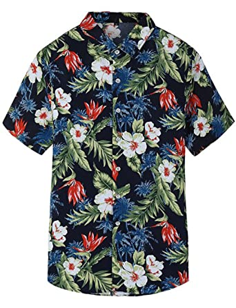 dd1332228 Pinkpum Mens Hawaiian Shirt Short Sleeve Summer Holiday Fancy Hawaii Dress  Floral Beach Palm Tree S: Amazon.co.uk: Clothing