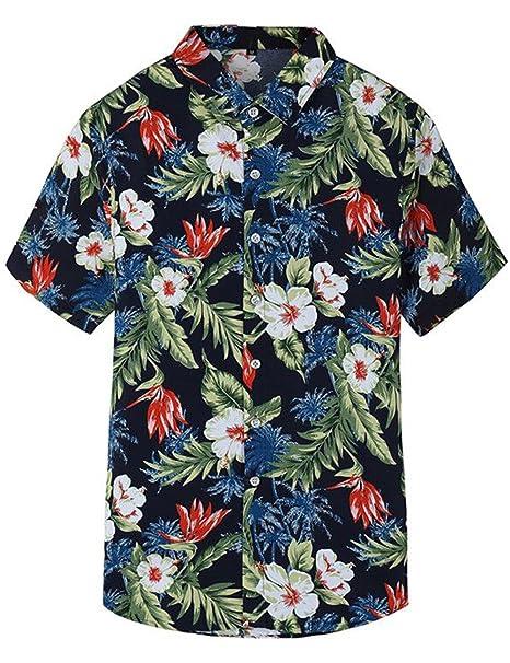 278d569064 Camisa Hawaiiana Hombre Casual Estampado de Flores Manga Corta para la Playa
