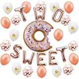 Donut Balloon Kit - 32Pcs - 2nd Birthday Party Decorations - Donut Balloon | Two Sweet Foil Letter Balloons | 7Rose Gold Balloon | 7Rose Gold Confetti Balloon | 7Oh Baby Printed Balloon | 1Ribbon