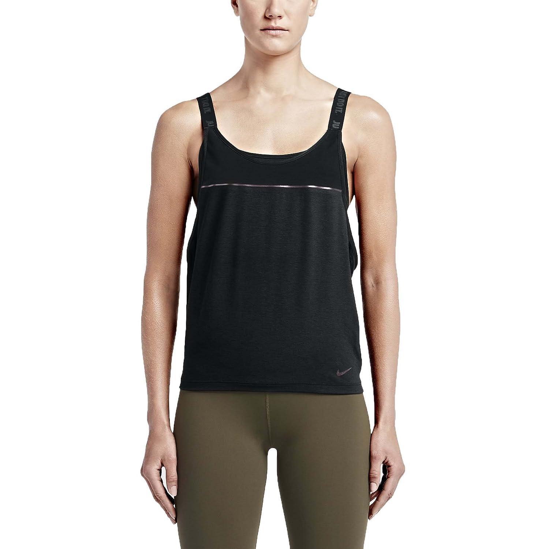 Nike Woven 2 in 1 Women's Training Sports Top, Light Crimson/Black