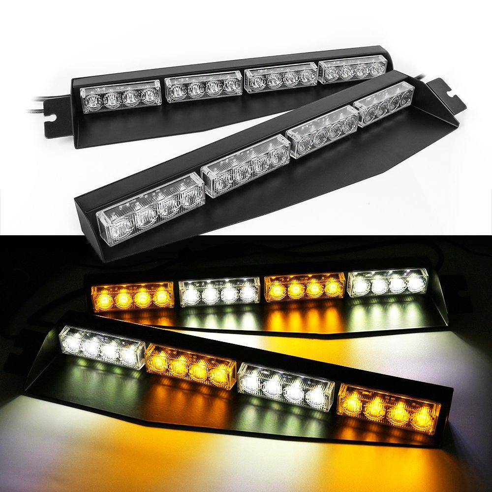 32LED 32W LED Lightbar Visor Light Windshield Emergency Hazard Warning Strobe Beacon Split Mount Deck Dash Lamp (amber&white)