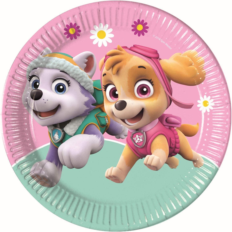 Procos 90274 Paw Patrol Skye & Everest - Platos de cartón para Fiestas (8 Unidades), Color Rosa y Verde: Amazon.es: Juguetes y juegos