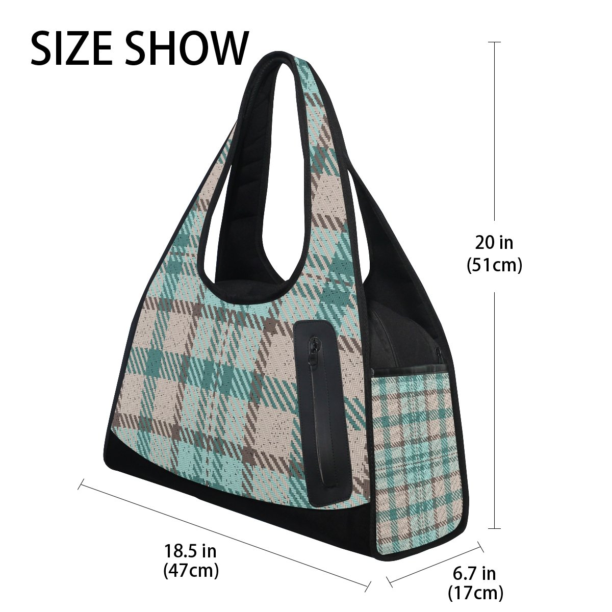 AHOMY Canvas Sports Gym Bag Striped Plaid Checkered Travel Shoulder Bag
