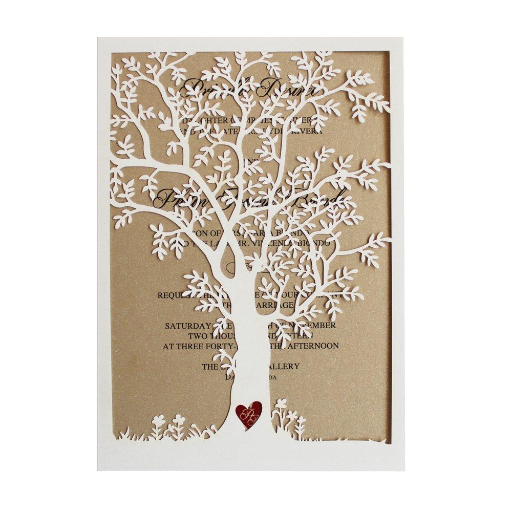 Wedding Invitation Cards.50pcs Laser Cut Tree Wedding Invitation Fall Wedding Invitation Cards Tree Wedding Invite Rustic