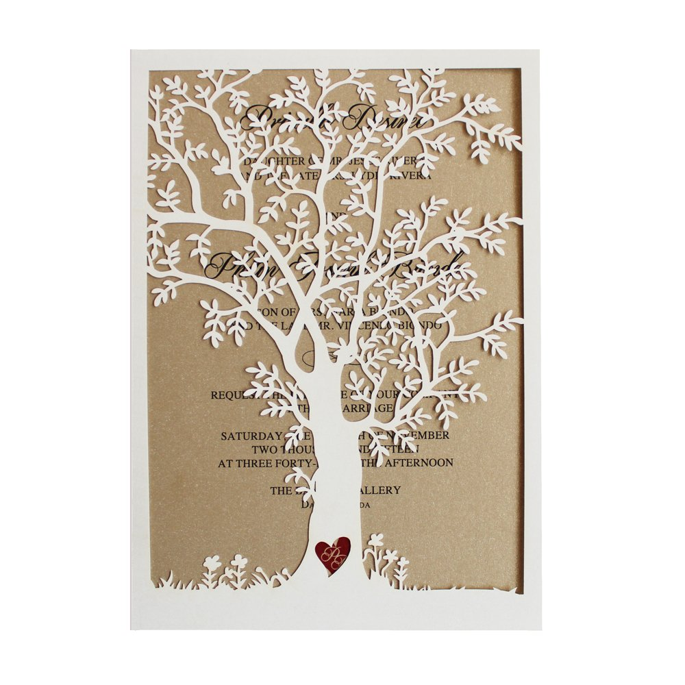 50pcs Laser Cut Tree Wedding Invitation, Fall Wedding Invitation Cards, Tree Wedding Invite, Rustic Wedding Invitations - Pack of 50