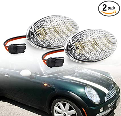 iJDMTOY Black Smoked Lens Amber LED Front Sidemarker Lamps For 06-14 MINI Cooper MKII 2nd Gen