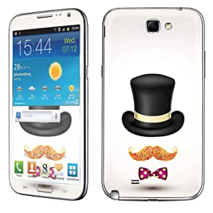 Samsung [Galaxy Note 2] Skin [NakedShield] Scratch Guard Vinyl Skin Decal [Full Body Edge] [Matching WallPaper] - [Hat Mustache Bow Tie] for Samsung Galaxy [Note 2]