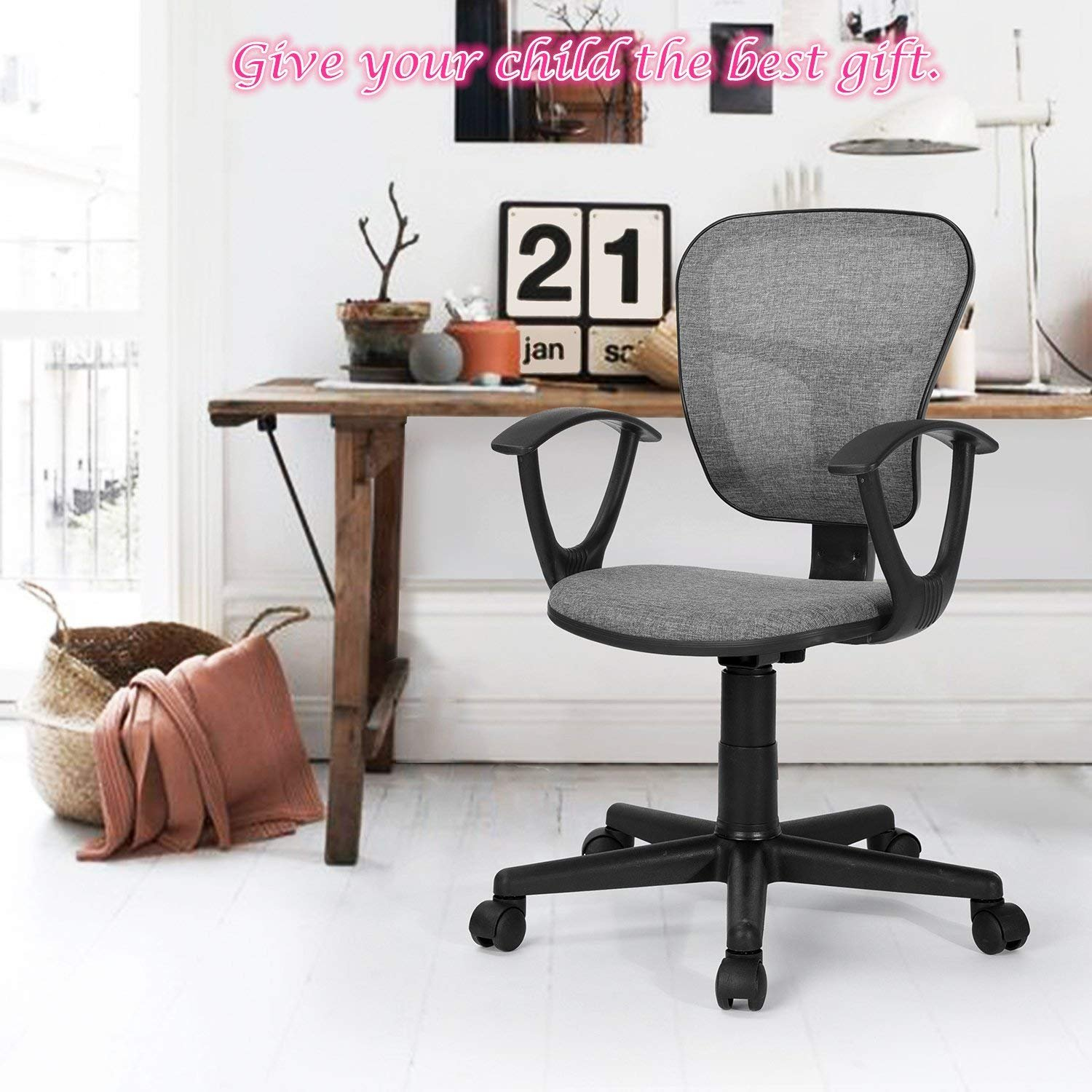 DHHX FLYING ARM FABRIC-14 Grey Coavas Kids Desk Chair Mid-Back Mesh Task Study Chair Adjustable Height Ergonomical Chair for Students Teens Children Home Office Computer Gaming Studying