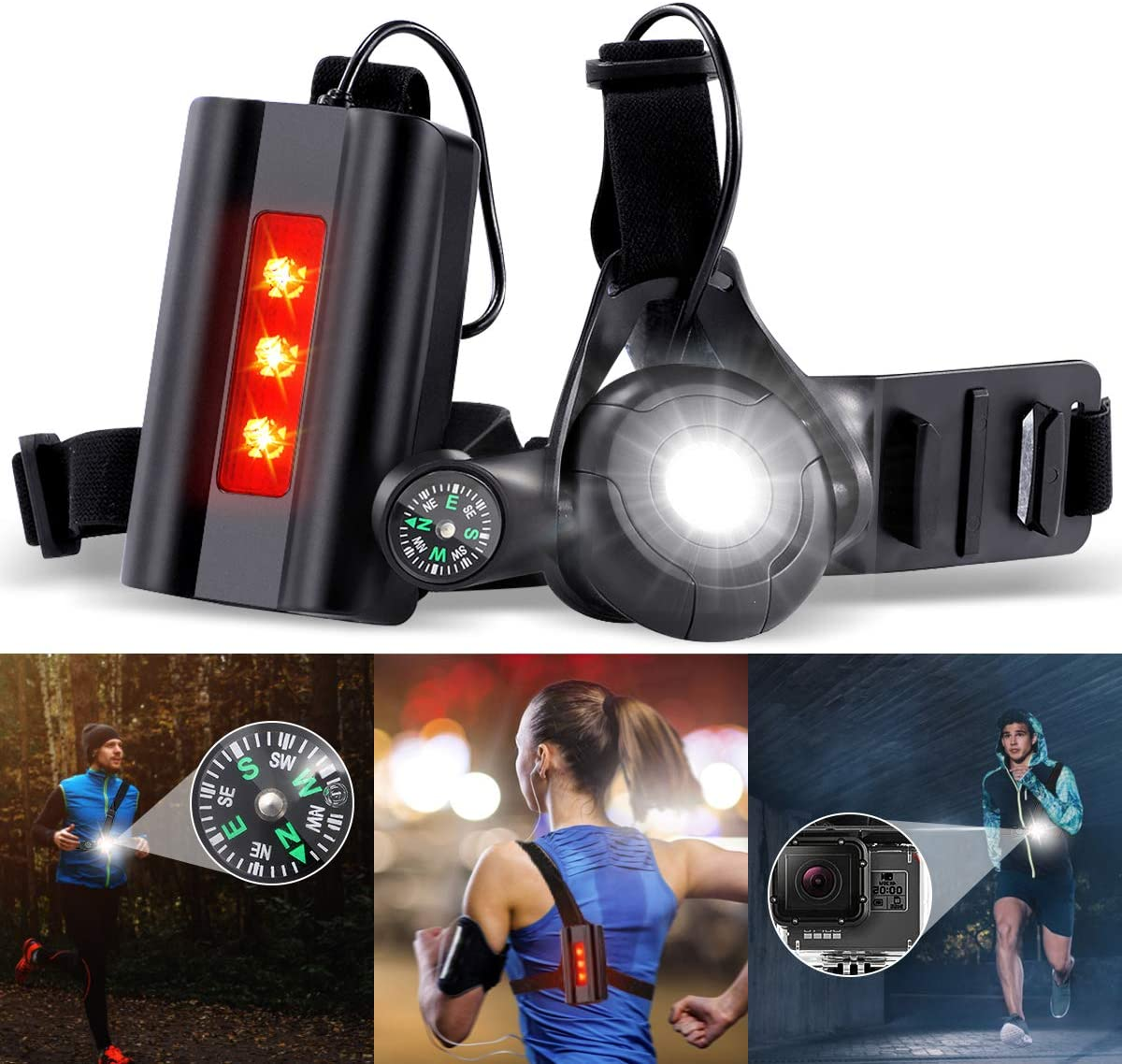 Running Light Chest Lamp Body Torch for Runners Lights 90/° Adjustable Beam Angle with USB Rechargeable Waterproof Taillight 3 Modes for Night Runners Jogging Dog Walking Camping Hiking 360/° Reflective Band