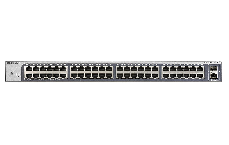 Smart Managed Plus Netgear GS750E-100EUS Switch de Red Inteligente gestionable de 48 Puertos Gigabit con 2 Puertos SFP sin Ventilador