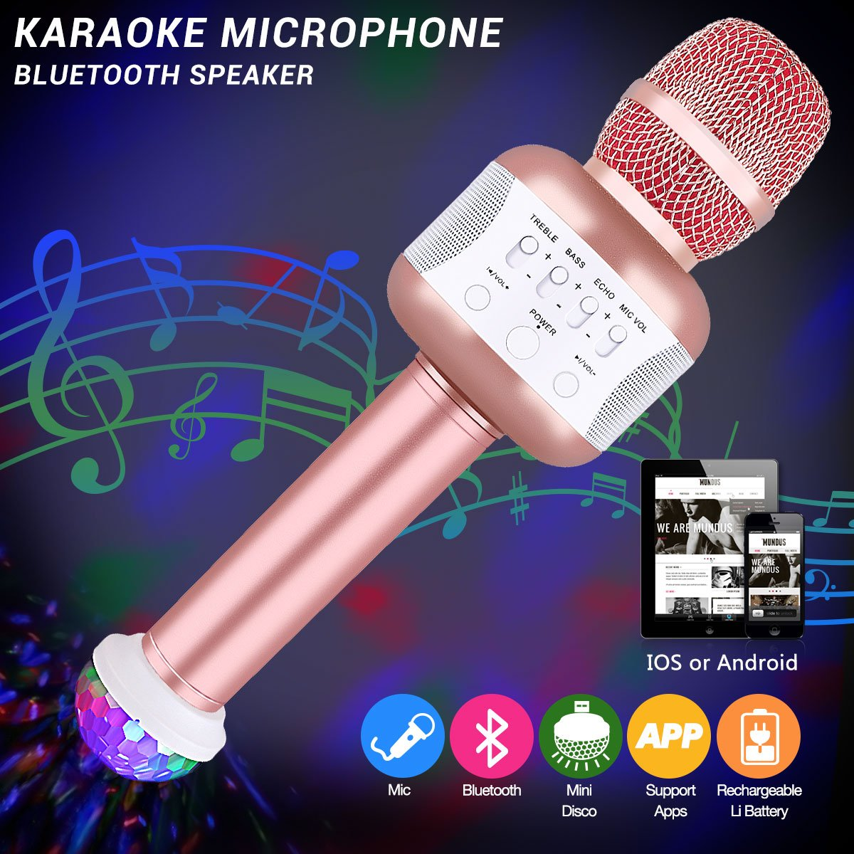 Karaoke Microphones, Microphone With Disco Lights Wireless Karaoke Microphone Battery Microphone Wireless Installation For The Reception Of Singing And Language As A Speaker For PC, Laptop, Iphone, Ipod, Ipad, Android Smartphones Party Karaoke Microphone (