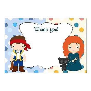 30 tarjetas de agradecimiento notas salvajes princesa pirata + ...