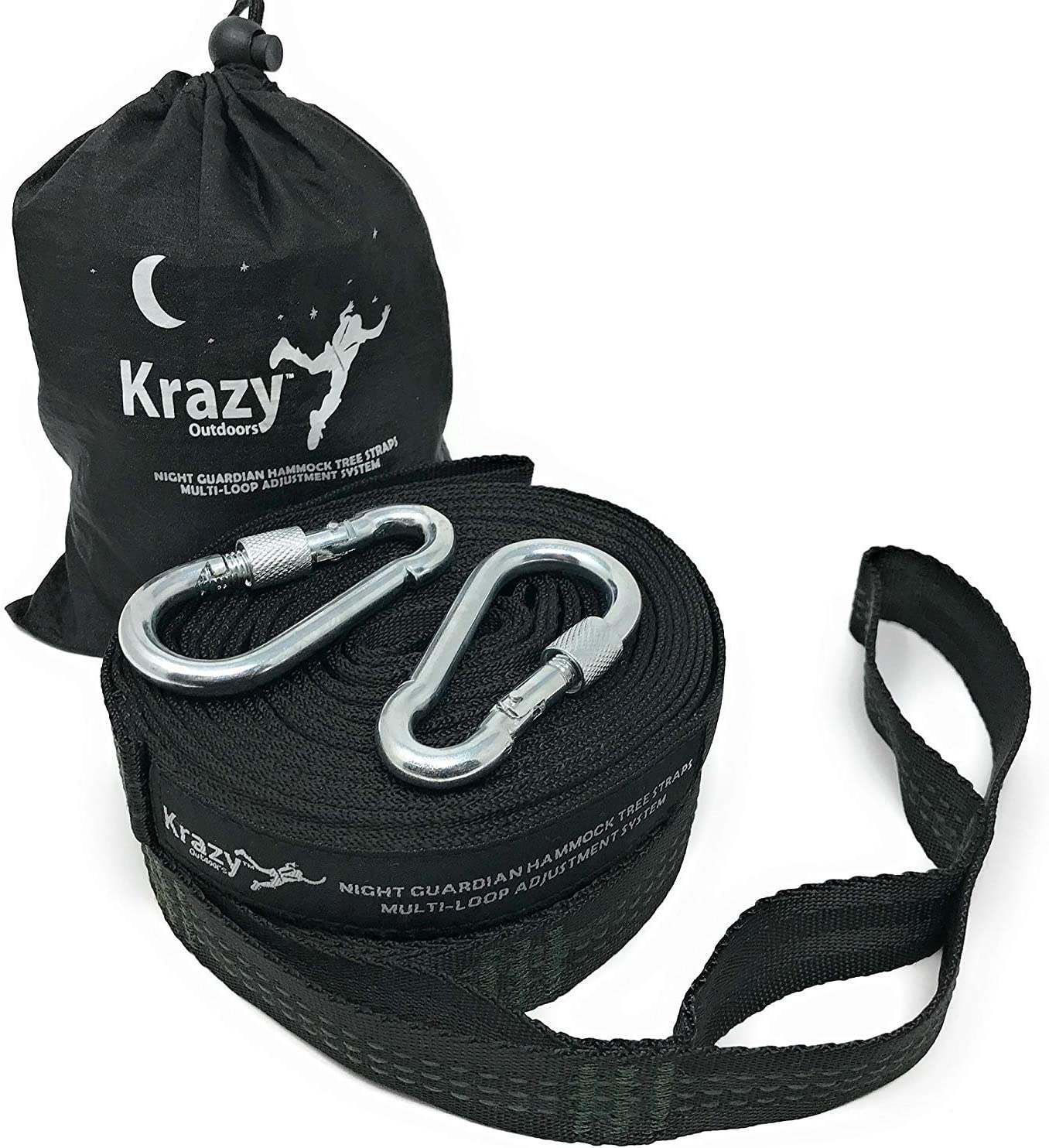 Krazy Outdoors Night Guardian Hammock Tree Straps – Black with Dark Green Stitching – Heavy Duty – 21 Multi-Loop Adjustment System – 100 Polyester Webbing Quality Straps – 1500 lbs Weight Capacity