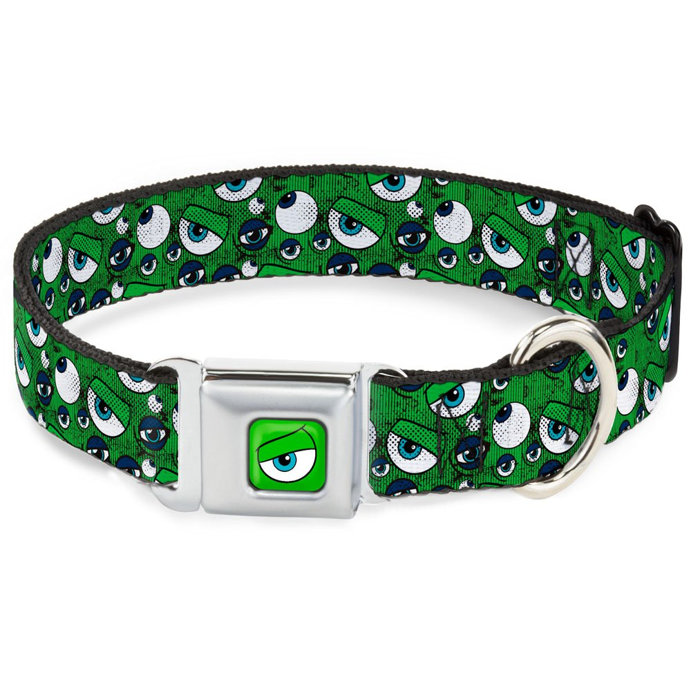 Buckle-Down Seatbelt Buckle Dog Collar Monsters Inc. Eye Collage Weathered Greens bluees 1  Wide Fits 11-17  Neck Medium