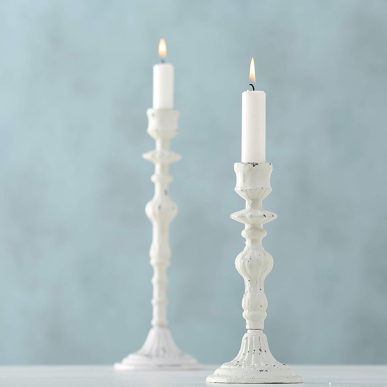 White Candle Holder Elle H 30 cm Metal Candlestick