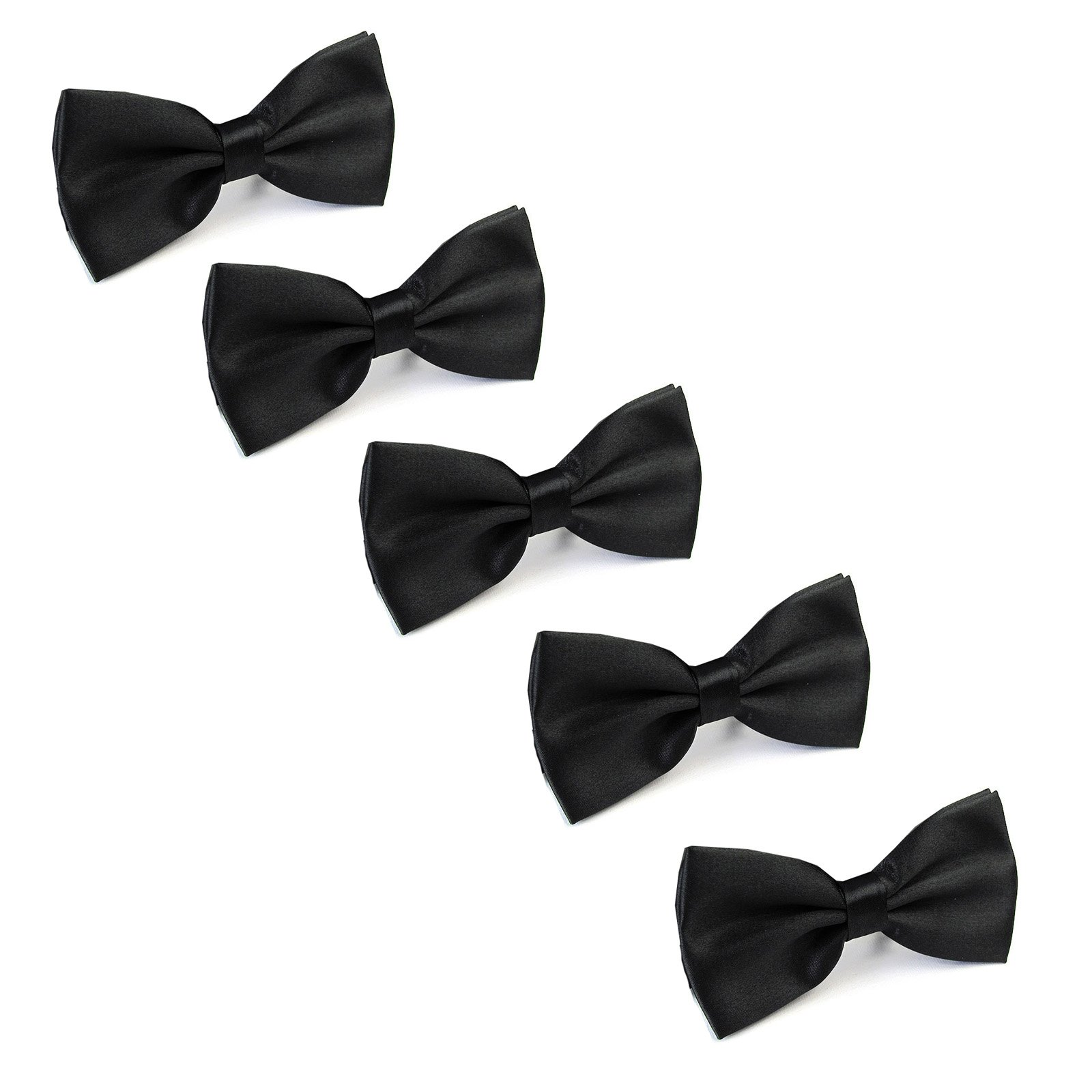Boys Child Kids Bow ties - Adjustable Pre Tied Solid Color Wedding Party Bowties,5 Pieces (Black-5 Pieces)