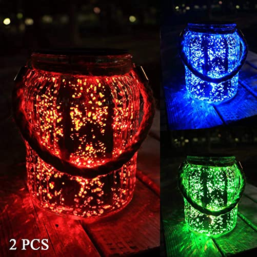 Hanging Solar Lantern Lights Outdoor 2 Pack,20 LED Solar Mercury Glass Mason Jar Hanging Lights Waterproof for Tree, Table, Yard, Garden, Patio, Holiday Party Outdoor Decor, Color Changing