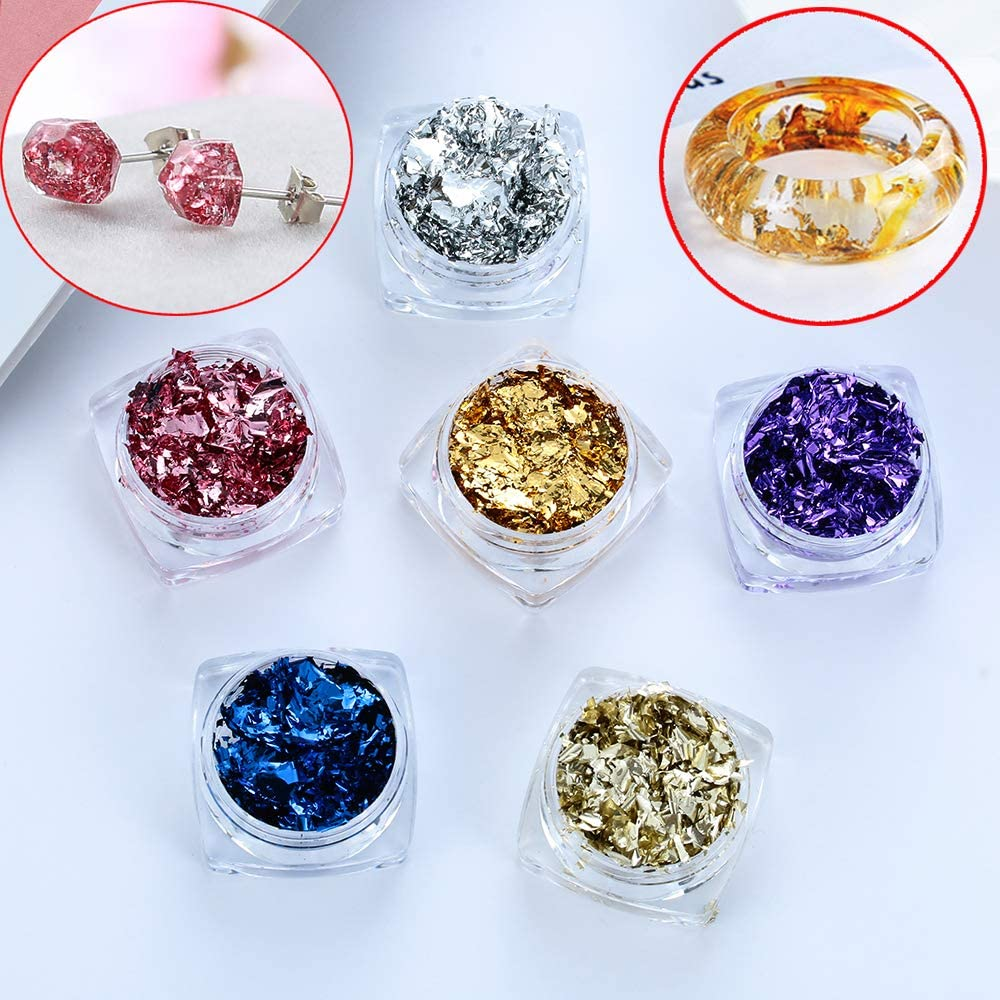 6Boxes DIY Gilding Flakes Handmade Crystal Epoxy Jewelry Accessories Filler Resin Imitation Gold Blue Powder Broken Gold Foil Silver Foil