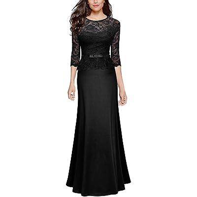 Miusol Women's Retro Floral Lace 2/3 Sleeve Slim Peplum Wedding Maxi Dress at Women's Clothing store