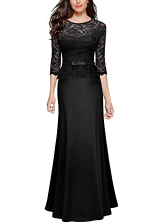 Retro Floral Lace Vintage Slim Ruched Wedding Maxi Dress