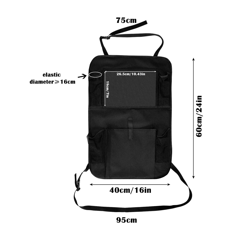 "Gimars UPGRADED Car Back Seat Organiser for Kids //10.4/"" Touch Screen Tablet Holder//Universal Fit Waterproof Protectors Kick Mat//Hanging Storage Bag Multipockets for Car and Stroller//Black"