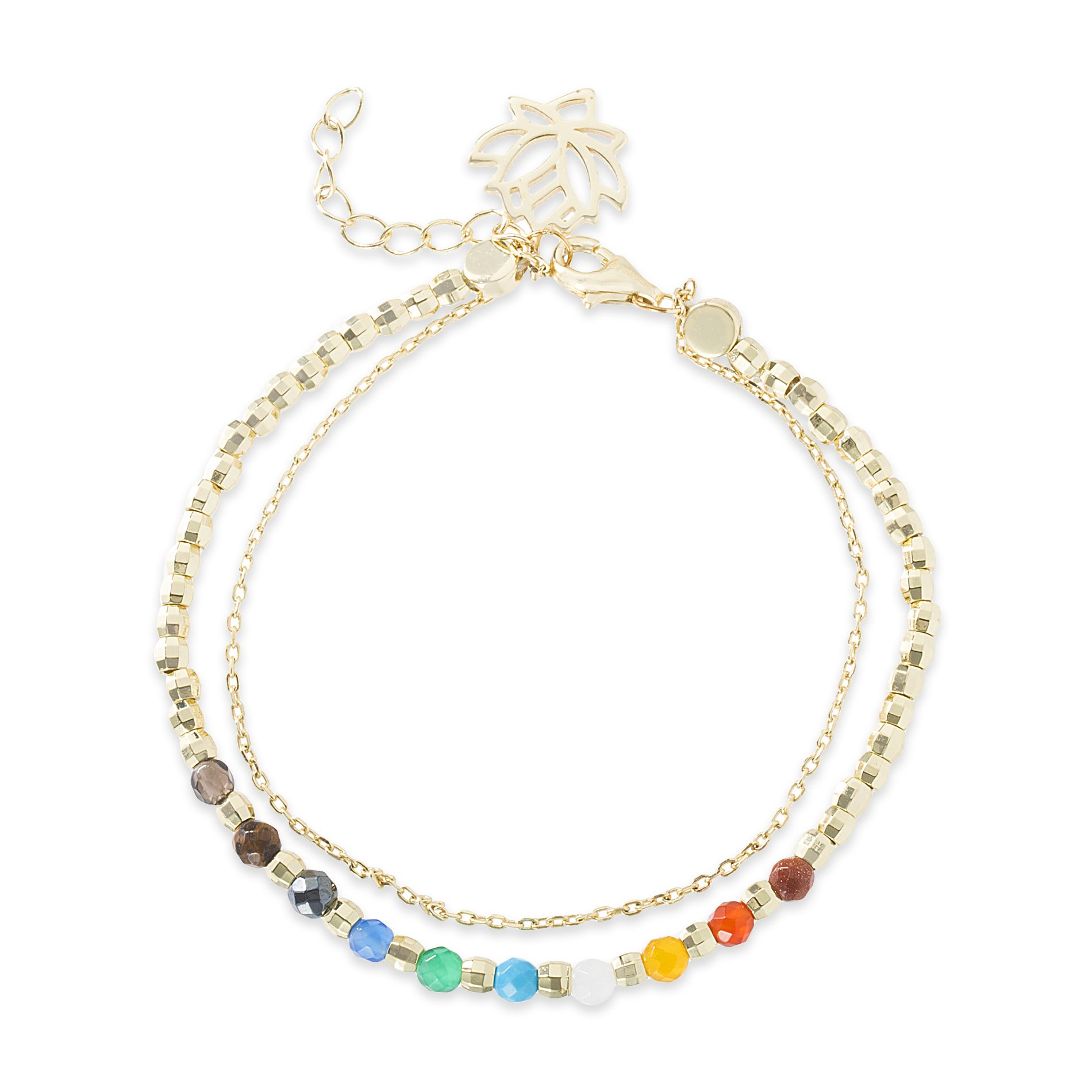 Willowbird Womens Petite 7'' Lotus Flower Charm and Multi Colored Beaded Adjustable Double Layered Bracelet in Yellow Gold Plated Sterling Silver