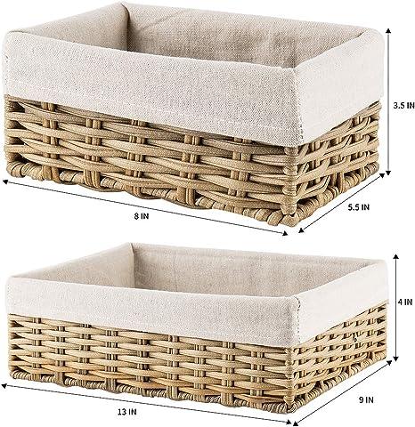 3 Pcs//Set Handmade Straw Woven Storage Basket With Lid Snack Organizer Sto F3Q7