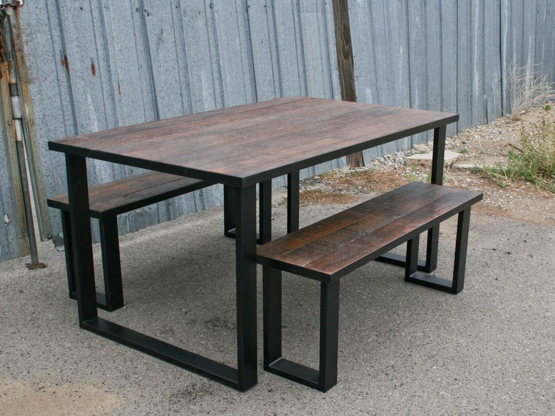 Amazon.com: Steel and Reclaimed Wood Dining Set. Urban Table ...