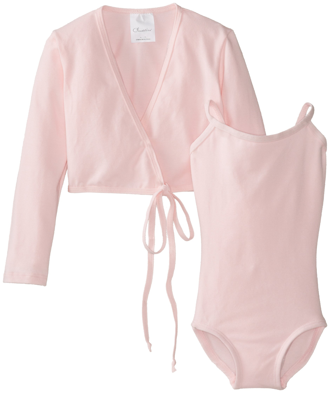 Clementine Little Girls' Leotard and Long Sleeve Wrap Sweater Bundle, Light Pink, 3-4