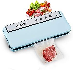 BENATA Vacuum Sealer Machine, 60Kpa Automatic Food Sealer, Dry & Moist Modes, Food Saver Laminator, Bonus 10 x Sealing Bags & 1x Canning Vacuum Sealer pipe (Tiffany Blue)