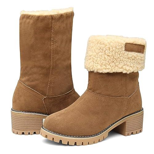 ff5c9c236e1 EAST LANDER Women's Winter Short Boots Faux Suede Chunky Heel Booties