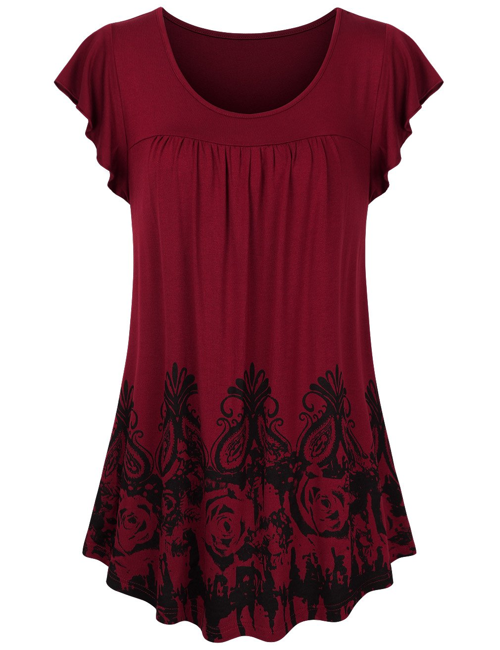 Sunerlory Pleated Tops for Women Short Sleeve, Womens Printed Floral Top Scoop Neck Comfy Casual Pleated Tunic Blouse Wine M